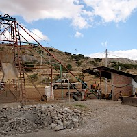Head frame at the La Lupita shaft; note new power line in the background