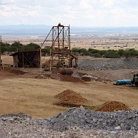 Head frame at the La Navidad Shaft; note dumps in the background